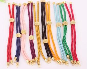 10-20pcs Mix color Charm Cotton Rope Bracelet,Adjustable Bracelet,Half-finished Cord Bracelet,Jewelry Supply for DIY