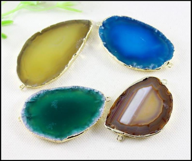 5pcs Nature Druzy Agate Connectors,Drusy Gemstone Pendant in Mix color,Gold Tone Druzy Agate Connectors for bracelet,Jewelry findings
