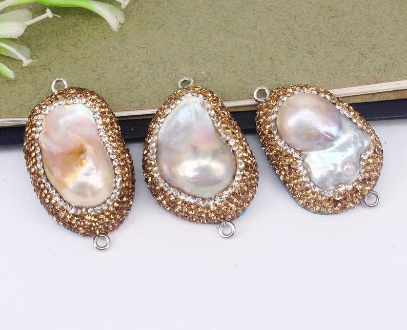 5pcs Fashion Pearl Connector BeadsWith Paved Gold Crystal  b76d0c1cfbd7