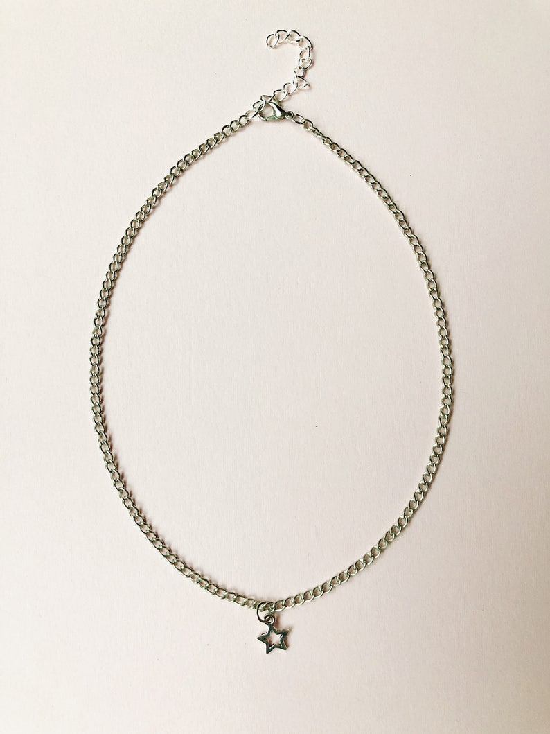 4e177ef3a15 Silver Star Charm Necklace Choker On Silver Chain