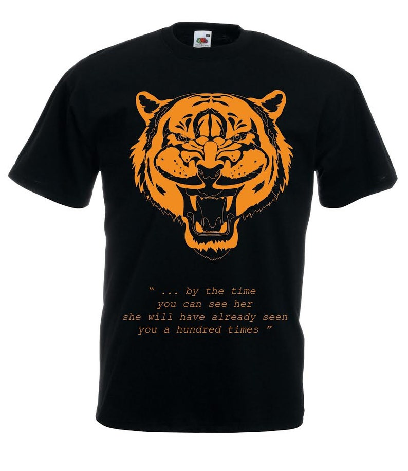 Tiger tshirt, black and orange tiger t shirt for men  Quote tee shirts,  text tees for guys  Year of the tiger gift for men, boyfriend Fierce