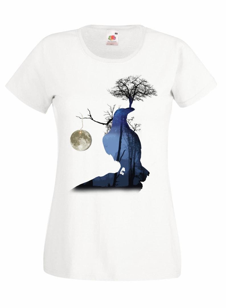 b43657cf449 Raven shirt. Crow surreal art tshirt. Graphic tees for women