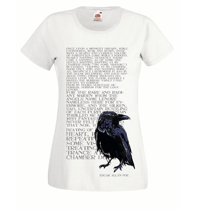 e7ead7c1 The Raven Edgar Allan Poe poem tshirt. Womens t shirt. Crow, black bird,  gothic white tee shirts for ladies, teen girls. Steampunk poet gift