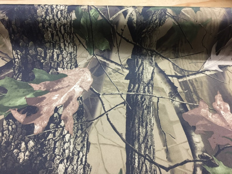 Waterproof Camouflage tree Canvas fabric black backer 150cm wide p/mtr