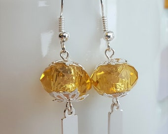 earrings lantern blue /& yellow Sterling with white Yeondeung