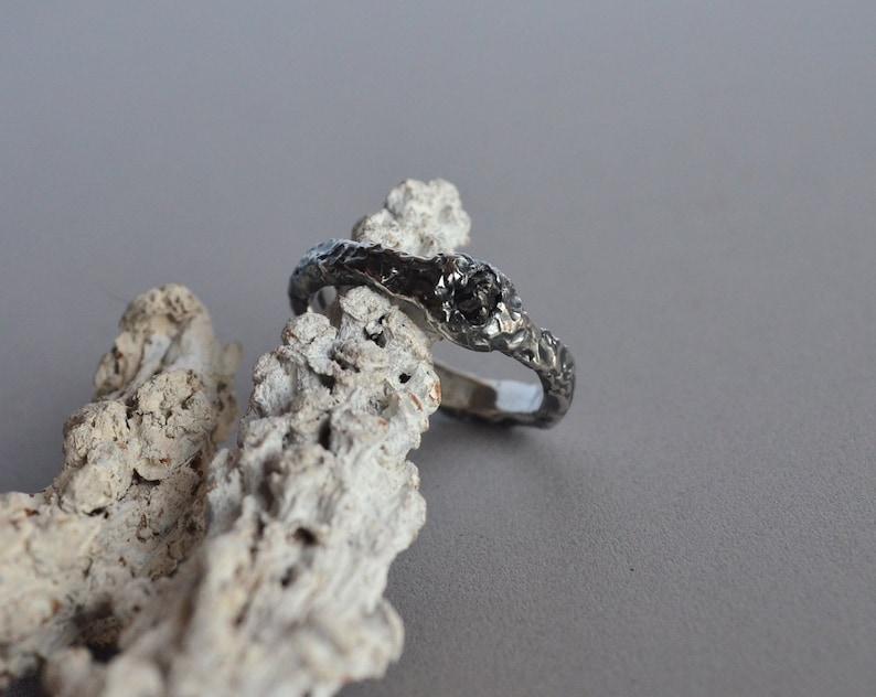 Schwarzer Diamant-Ring Rohdiamant Silber 925 Solitär-Ring ...