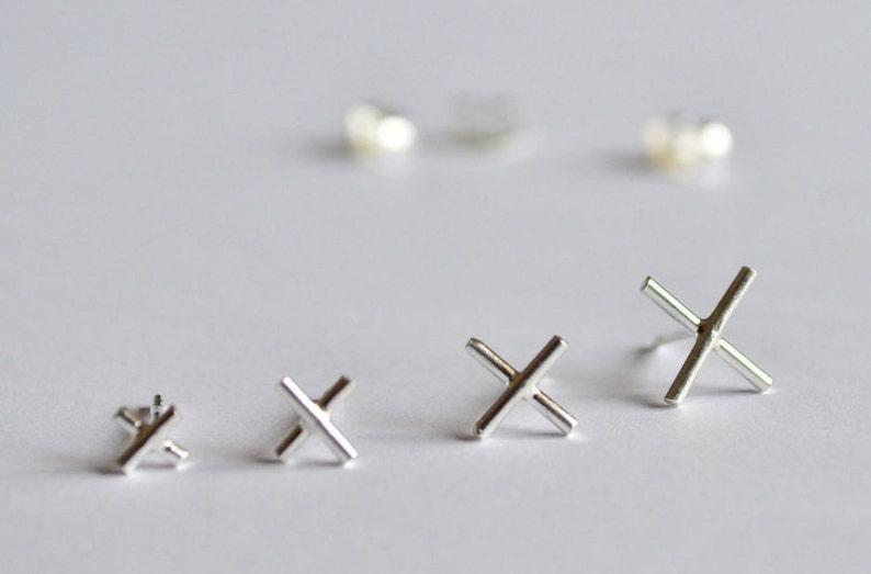 X Earrings set,single earring,X earrings,earrings 925 silver,Mismatch earring,tiny stud earrings,light earring,handmade,made in Italy