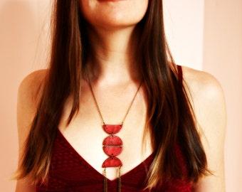 Pendant necklace, Brass necklace, Boho necklace, Geometric half circle necklace, Red pendant necklace, Contemporary pendant, Girlfriend gift