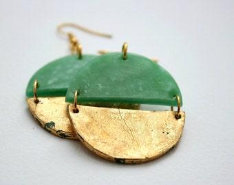 Round dangle earrings, Gold earrings, Statement earrings, Girlfriend gift, Big earrings in jade green, Green earrings, Gift for her