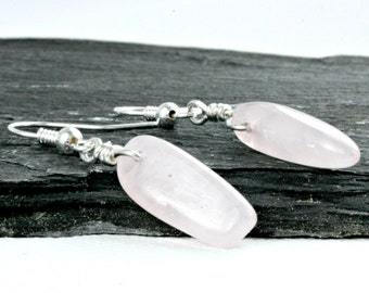 Simple Rose Quartz  dangle earrings, Taurus birthstone earrings, Gemstone earrings, Zodiac earrings, Silver and  Rose quartz dangle earrings