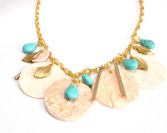 Turquoise teardrop necklace, Large charm necklace, Bold necklace, Modern statement necklace, Large bib necklace, Gold statement necklace