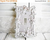 Sale Shabby Glam Silver Rose Switchplate Single Toggle Light Switch Cover Repurposed Handpainted Vintage Brass