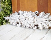 Shabby French Architectural Wall Pendiment Repurposed Antique Cast Iron Salvage Wall, Mantle Decor