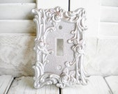 Shabby Glam Silver Rose Switchplate Single Toggle Light Switch Cover Repurposed Handpainted Vintage Brass