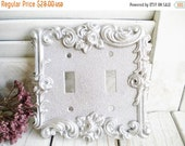 Sale Silver Rose Glam 2 Way Switchplate Light Switch Cover Vintage Repurposed Brass Wall Decor Shabby Chic