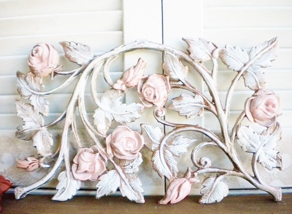 Pink Gold Metal Wall Decor Repurposed From Vintage Rose Metal Etsy