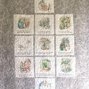 The Tale of Peter Rabbit  the mischievous adventures of Peter Rabbit in Mr McGregors Garden Heirloom story quilt.