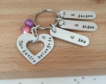 Personalised Gift Auntie Aunt Keyring Names Birthday Sister Hand Stamped UK Aunty