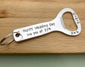Personalised Groom Gift, Bottle Opener, Gift For Groom From Bride, Husband Wedding Day Gift, Wedding Day Present For My Groom, Husband to be