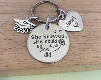 Graduation gift, she believed she could, Graduation, personalised gift, graduation gift for her, inspiration quote, dandelion wishes