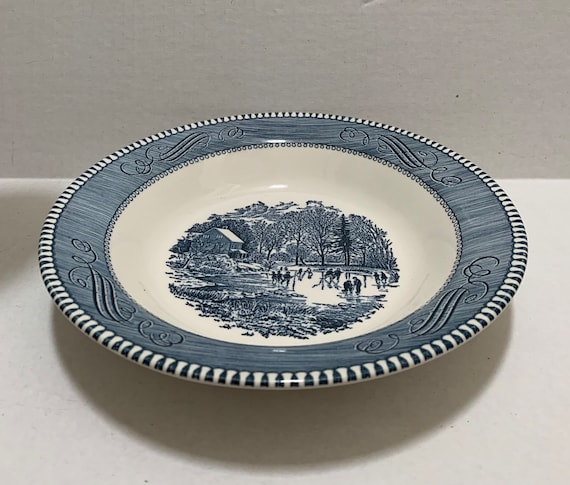 Currier /& Ives 8 12 Rim Soup Bowls Early Winter~ROYAL CHINA Excellent