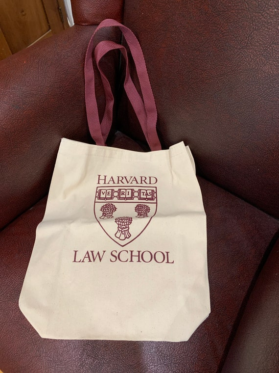 90s Harvard Law School Bag Tote Shopping Fabric Cl