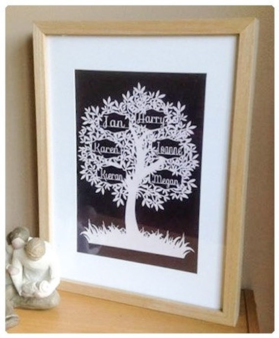 6 Name Family Tree Paper Cut Papercut Template Commercial Use