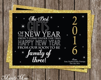 new year pregnancy announcement expecting card announcement new baby announcement best gifts of the new year digital