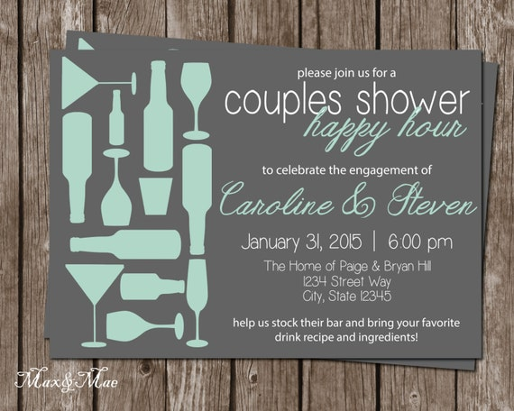 Happy Hour Bridal Invitation Stock The Bar Wedding Shower