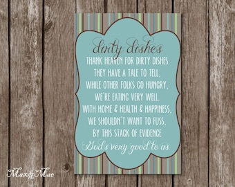 Dirty Dishes Sign, Thank God For Dirty Dishes, Gift for Mom, God's Very Good To Us, Digital, Printable