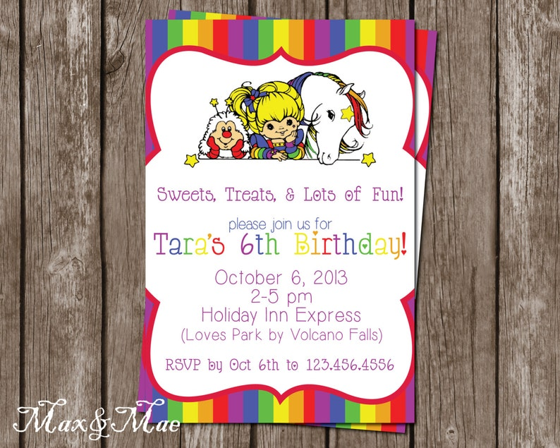 Rainbow Brite Birthday Invitation Party