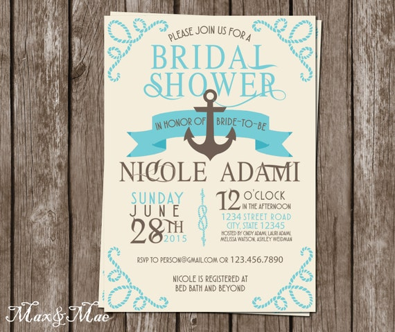 Nautical Bridal Shower Invitation Cruise Themed Invitation