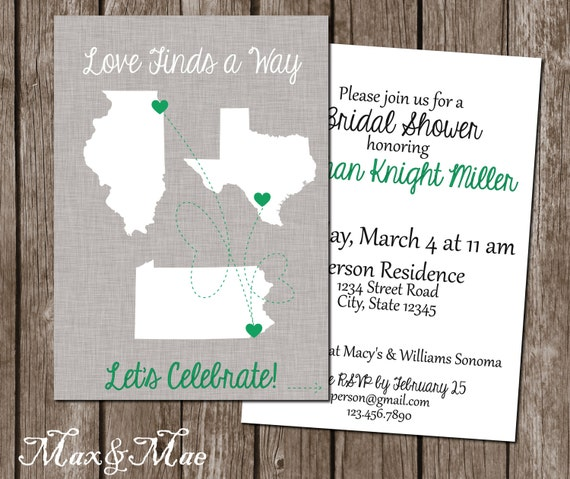 910237b190f38a Maps Bridal Shower Invitation Love Finds A Way Invite