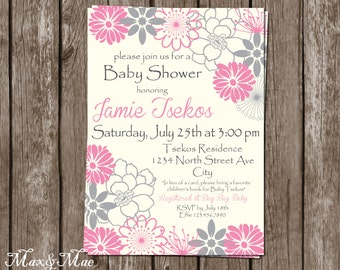 Pink and Grey Baby Shower, Flower Invitation, Baby Shower Invite, Baby Shower for Girl Invitation, Floral Invitation, Digital