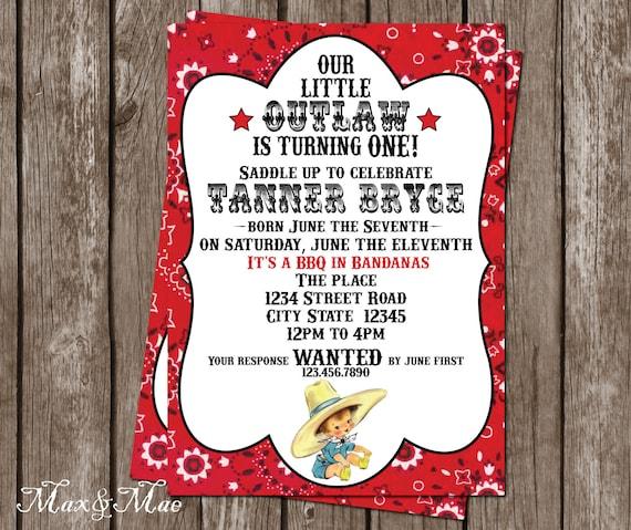 Vintage Cowboy Urodziny Zaproszenie Little Outlaw Urodziny Etsy