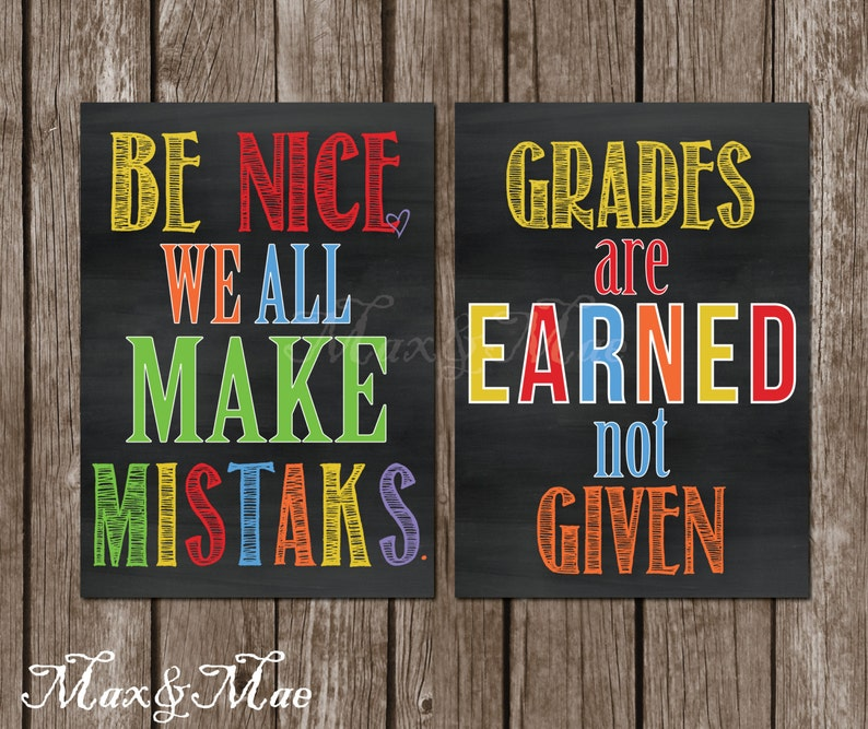 image about Classroom Signs Printable identify Instructor Quotation Clroom Indicators, Present For Trainer, Grades are Acquired, We All Deliver Mistaks, Signs or symptoms for Clroom, Electronic, Printable