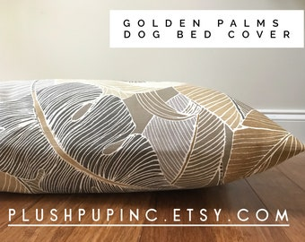 Golden Palms Dog Bed Cover || Dog Bed Cover, Floral Dog Bed Cover, Brown Dog Bed Cover, Palms Dog Bed Cover, Modern Dog Bed Cover