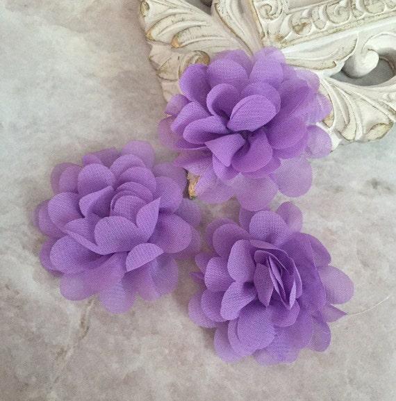 Fleur en mousseline lavande MINI, fleur en mousseline, souffle de fleur, fleur matière, headband fleur, fournitures de bricolage, fleur en tissu,