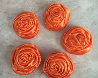 2 inch orange rosette, orange satin flowers, headband supplies, roses, headband flowers, wedding flowers, silk flowers, rolled flowers, flo
