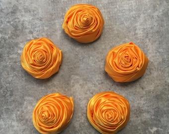 2 inch light orange rosette, orange satin flowers, headband supplies, roses, headband flowers, wedding flowers, silk flowers, rolled flowers