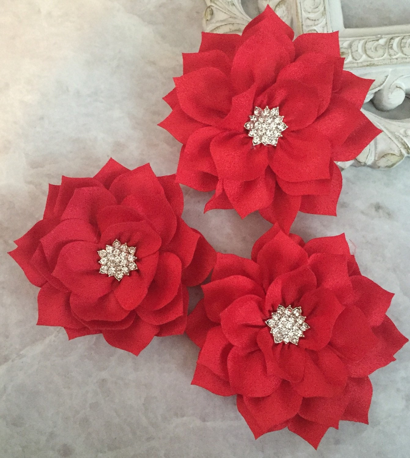 Red Poinsettia Kanzashi Flowers Lotus Flower Large Flowers Etsy