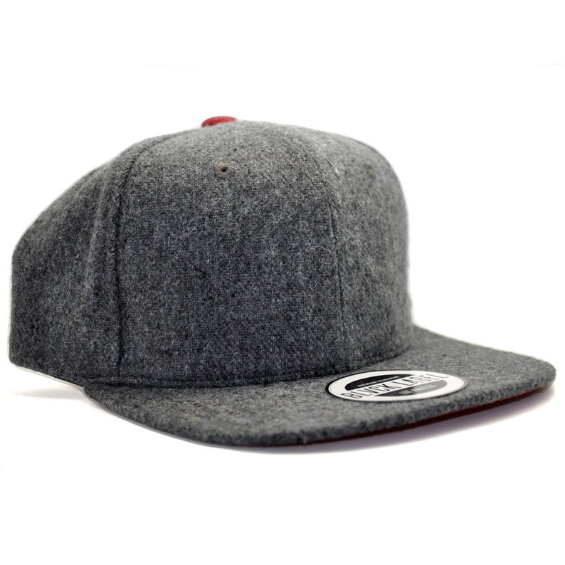 BLVCK LABEL Grey Wool 6 panel snapback with red under brim  20a0b1b7e1e2