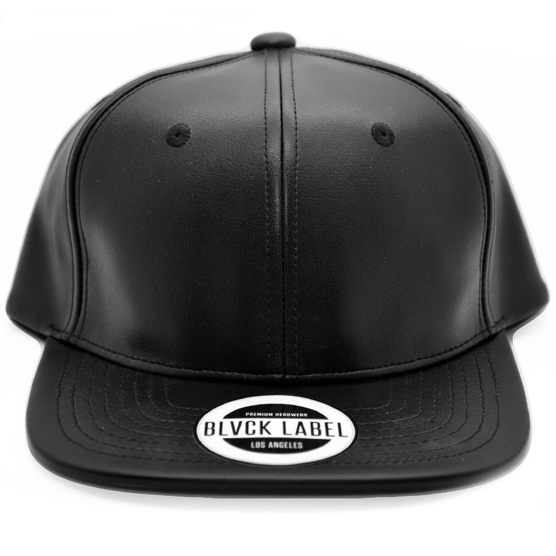 Custom BLVCK LABEL New Black Faux Leather Snapback with Red  b5d63181373
