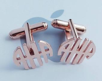 Three Initials Monogram Cufflinks,Personalized Monogram Cufflinks,Wedding Cufflinks,Groom Wedding Cufflinks,Elegant Monogrammed Cufflinks