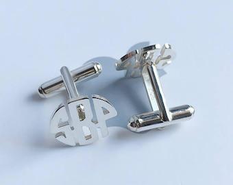Personalized Monogram Cufflinks,Three Initials Monogram Cufflinks,Wedding Cufflinks,Groom Wedding Cufflinks,Elegant Monogrammed Cufflinks
