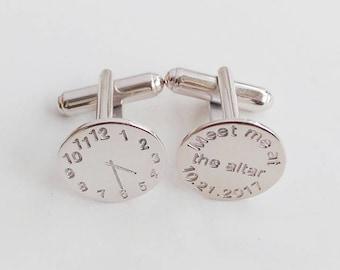 Time Clock Cufflinks,Meet me at the altar Date,Meet Me at the Altar Cufflinks,Personalized Wedding Cufflinks,Groom Cufflinks,Gift for Him