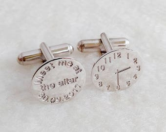 Meet me at the altar Time Clock Cufflinks,Meet Me at the Altar Cufflinks,Personalized Wedding Cufflinks,Groom Cufflinks,Gift for Him