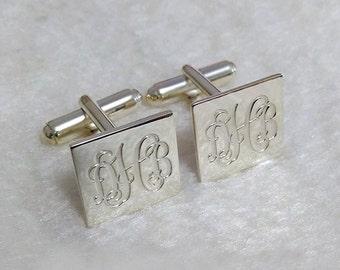 Square Cufflinks,Personalized Wedding Cufflinks,Groom Wedding Cufflinks,3 Initials Cufflinks,Engraved CuffLinks,Elegant Monogrammed Cufflink