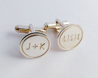 Personalized Wedding Cufflinks,Groom Wedding Cufflinks,Date and Initials Cufflinks,Engraved CuffLinks,Elegant Monogrammed Cufflinks