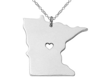 Silver State Necklace,MN State Necklace,Minnesota State Charm Necklace,State Shaped Necklace,Personalized State Necklace With A Heart